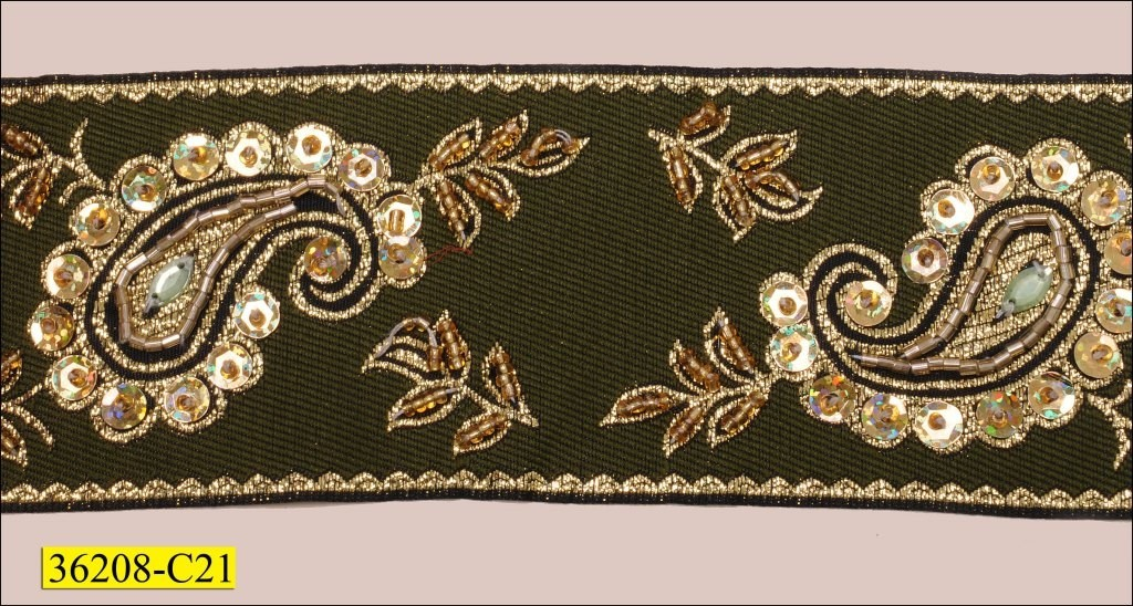 Beaded And Sequins With Gold Embrodered On Green Woven 2 1/2 - Sequin
